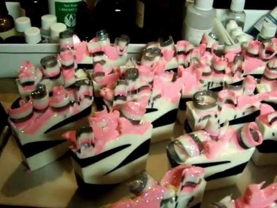 Melt and Pour soap for favors for a Baby Shower. Zebra with hot pink butterflies. Part 2