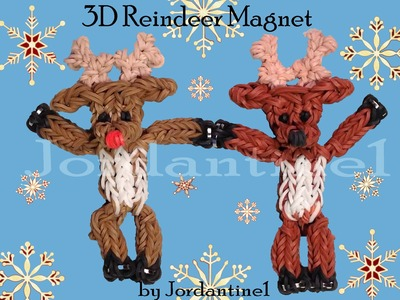 New 3D Reindeer Deer Magnet Figure. Charm - Christmas Rudolph - Monster Tail or Rainbow Loom