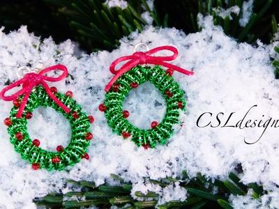 Wirework christmas wreath earrings | Christmas