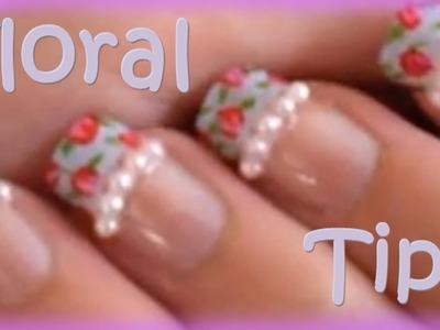 Floral vintage Japanese Nail Tips Tutorial