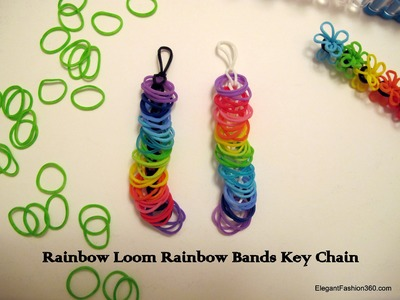 How to make Rainbow Bands Key Chain - Rainbow Loom