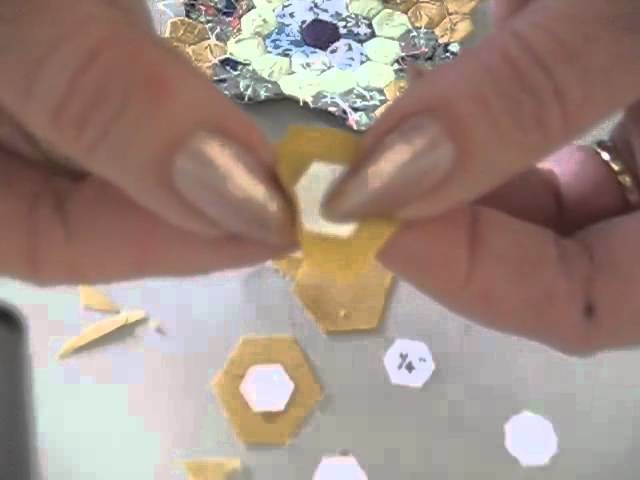 """How to sew miniature hexagon patchwork (1.4"""") demonstration. Part 1."""