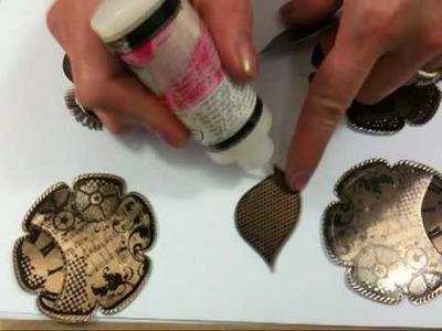 Leandra at PaperArtsy - Die Cut and Stamped Metal Rose