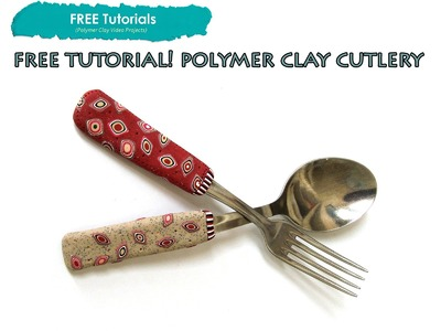 PolyPediaOnline TV - FREE How to Cover Cutlery. Utensils with Polymer Clay Millefiori