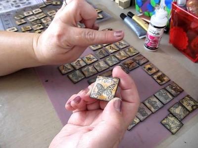 Practicing Making Vintage Chip Board Art Tiles