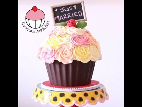 Decorate a GIANT CUPCAKE Shabby Chic Rose Bouquet Design - A Cupcake Addiction How To Tutorial