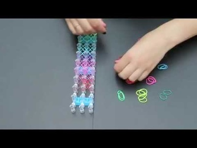 How to make a Rainbow Coloured Double Cross Rubber.Loom Band Bracelet!