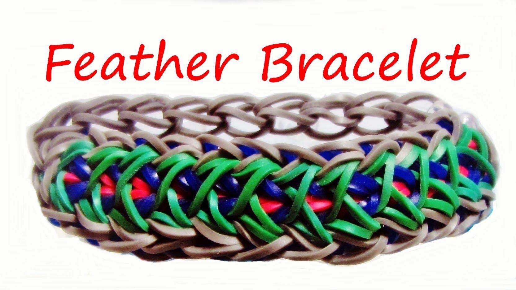 Loom Bands FEATHER BRACELET: How to Make it Tutorial. Design (Gumičky návod)