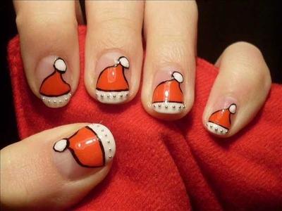 NEW YEAR HOLIDAYS: Santa's hat nail art desing