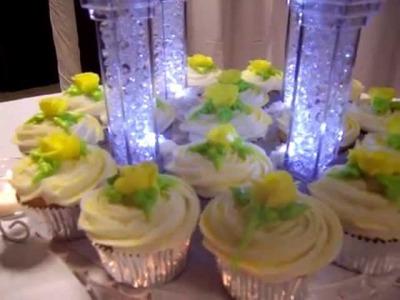 3 - Tier Wedding Cake, with cupcakes, yellow theme. Pillars light up.