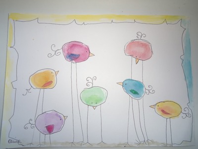 Alina Burinskaite Funny and easy painting - Colourfull Birds for Easter:)watercolour Ab888art