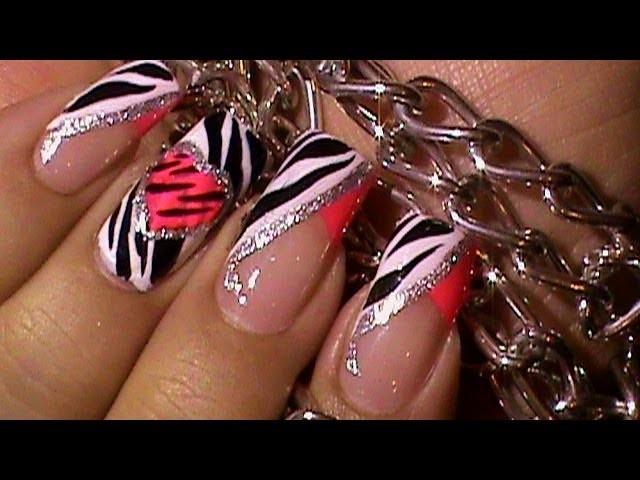 Animal Print Zebra Pink Heart Nail Art Design Tutorial
