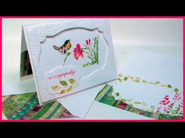 Asian Bird and Flower Card stamped with Watercolor Paints