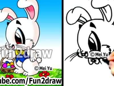 How to Draw a Bunny, Easter Bunny - Drawing Lessons - Learn to Draw - Fun2draw