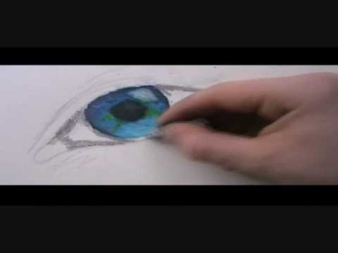 How to draw eye using oil pastels