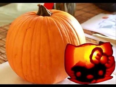 How to: Hello Kitty Pumpkin Carving (Halloween tutorial)