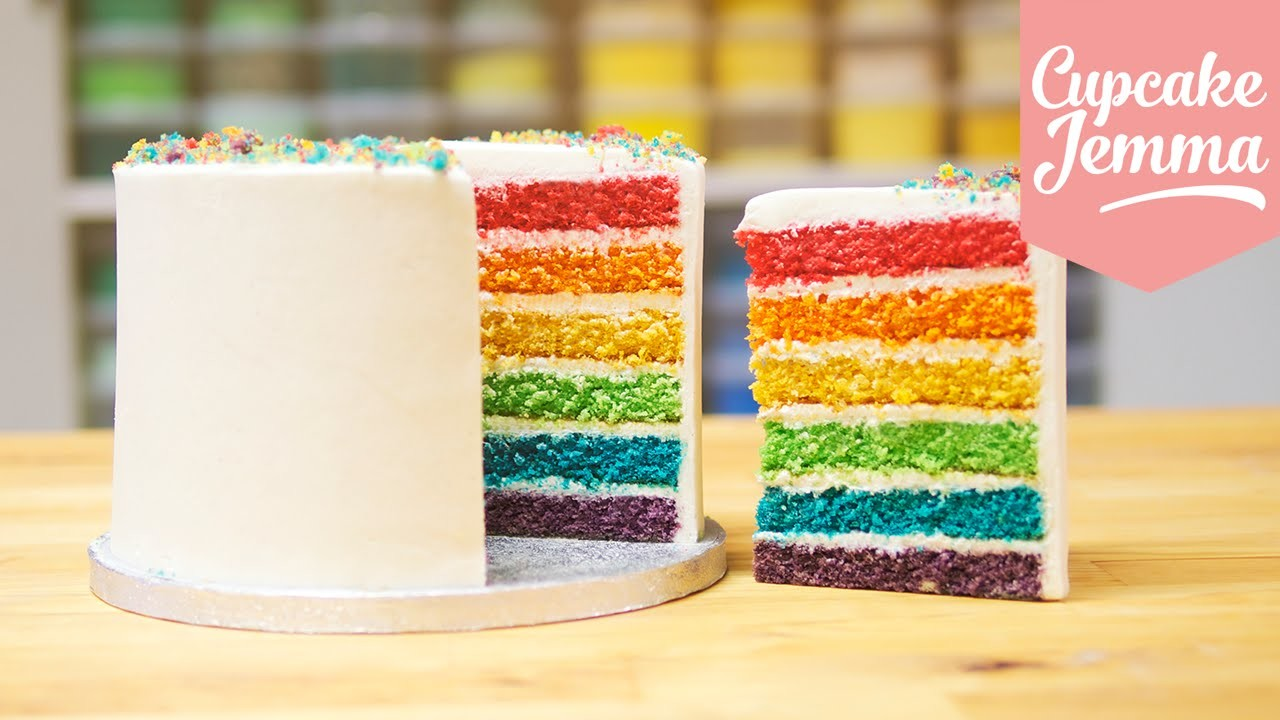 How to make the Best Ever Rainbow Cake | Cupcake Jemma