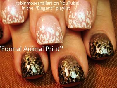 Leopard Print Nail Art Black and White