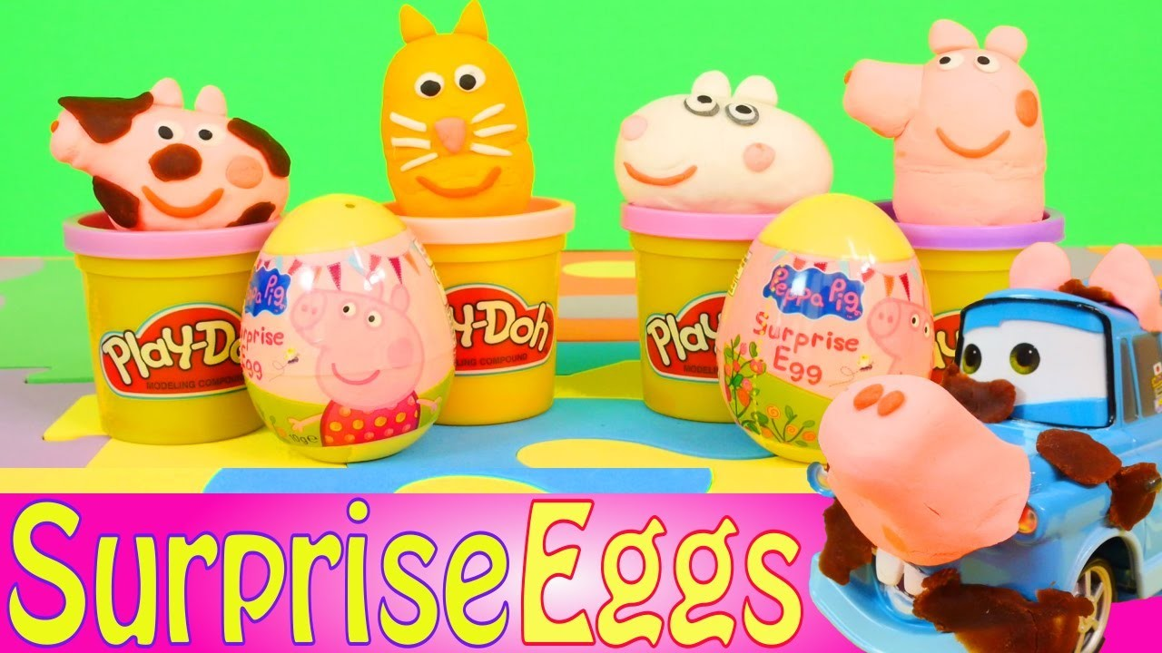 Play Doh Peppa Pig Surprise Eggs Cars Mater Pig Costume Play Dough Toy Eggs Disney