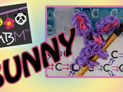 Rainbow Loom Band Bunny Rabbit Pencil Hugger Charm for Easter | How to
