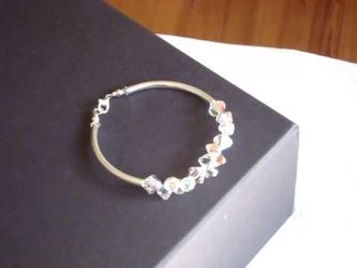 Sterling silver tube bracelet with Swarovski crystal