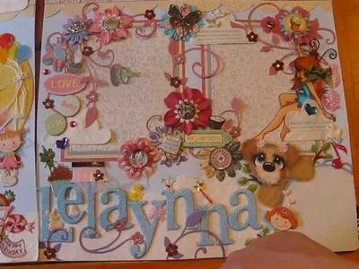 Tear Bear 12x12 Premade layout, girl birthday, shabby-chic, zoo jungle and ebay items