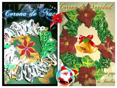 Corona Navideña (de papel periódico) How to make a newspaper wreath.
