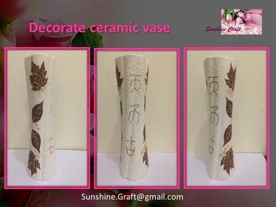 DIY Decorate ceramic vase with leaves