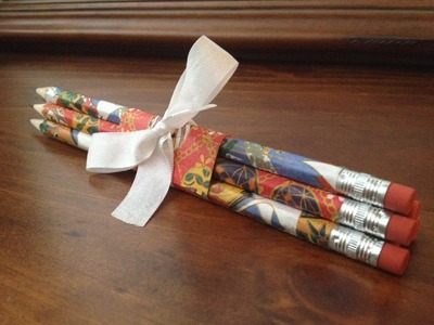 DIY Japanese Paper Wrapped Pencil Gift Set