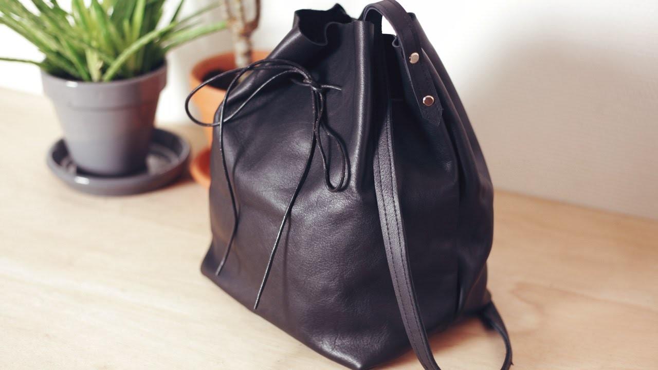 DIY Leather Bucket Bag. DIY sac seau en cuir