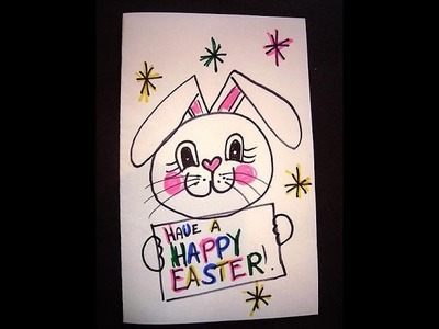 Drawing-HAVE A HAPPY EASTER - BUNNY drawing for kids -simple kids crafts, easy drawing lesson