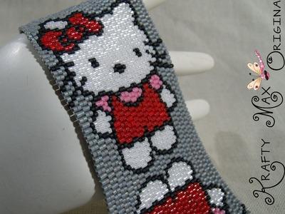 Hello Kitty Seeing Double Handmade Beadwoven Bracelet