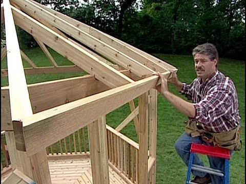 How to build a Gazebo. DIY Timber Frame Wood back yard Gazebo. Simple woodwork Pergola & Round