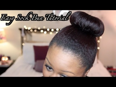 How To: SOCK BUN HAIR TUTORIAL. DIY SOCK BUN ON TRANSITIONING HAIR