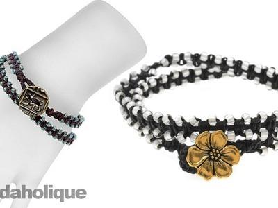 Instructions for Making the Beaded Macrame Wrap Bracelet Kit (Beads Outside)