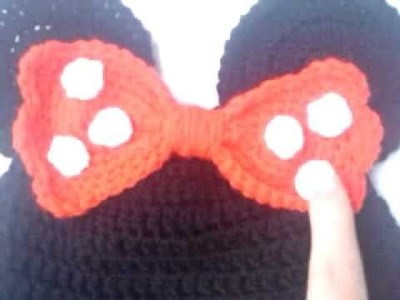 Minnie mouse bow cap hat crochet shell stitch bow