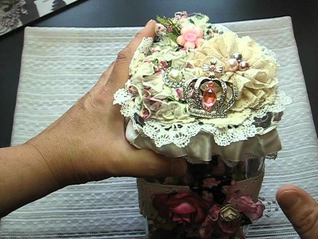 Altered glass jars for storing my paper flowers