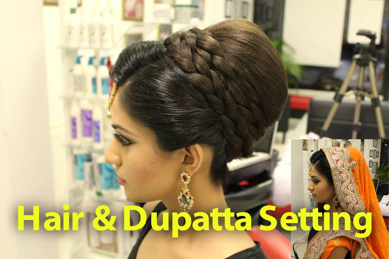 Indian, Pakistani, Asian Bridal Hair Style   Tikka & Dupatta Setting Tutorial   Wedding Hairstyles