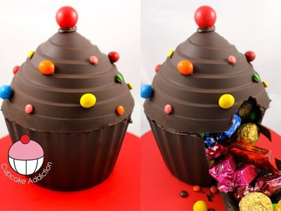 Make A Giant Cupcake Pinata from Chocolate! - A Cupcake Addiction How To Tutorial