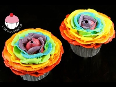 Make Rainbow Rose Cupcakes! Stunning Rainbow Flower Roses - A Cupcake Addiction How To Tutorial