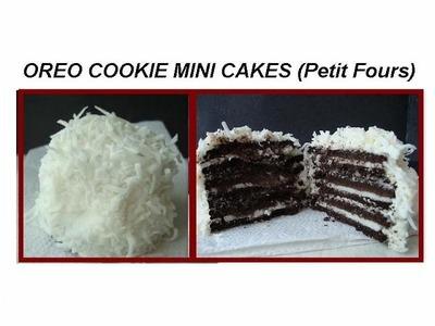 OREO COOKIE MINI CAKES PETIT FOURS, sweet desserts, quick party treats, oreo cookie snowballs