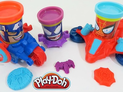 Play Doh Marvel Can-Heads Spider-Man Captain America Venom Toy Review & Unboxing!
