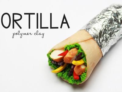 Polymer clay Tortilla. chicken wrap TUTORIAL