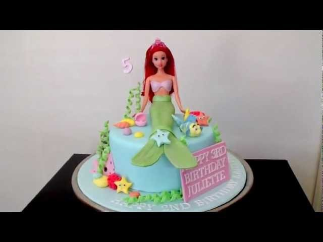 Ariel Mermaid Cake Decorations - how to tutorial on my channel