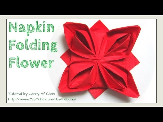 Christmas Table Setting - How to Fold a Rose. Flower - Napkin Folding, Restaurant Table Setting