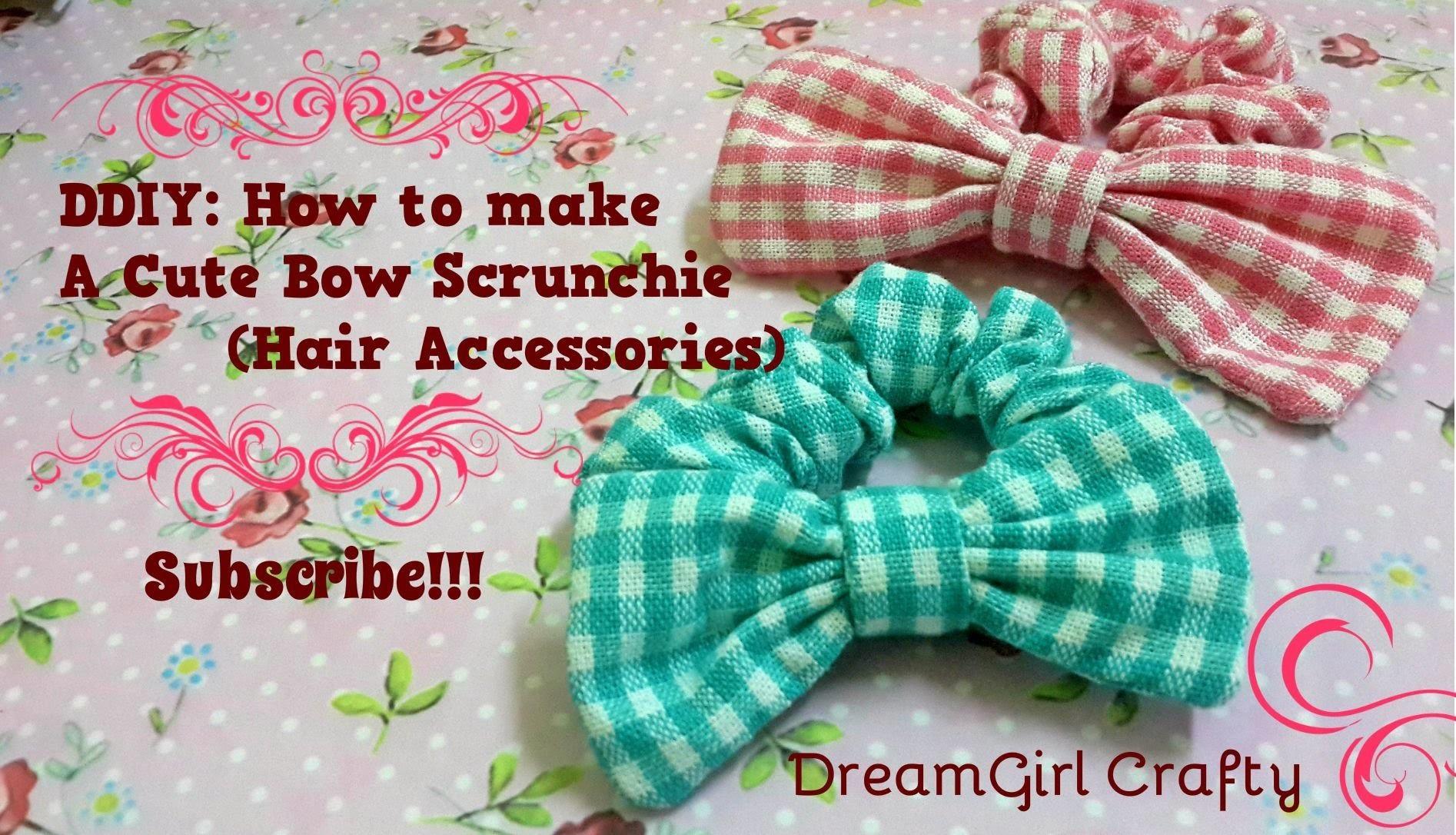 DDIY: How to make a Cute Bow Scrunchie(Hair Accessories)