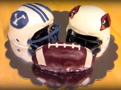 Fondant Football Helmet Cake - Arizona Cardinals and BYU Cougars