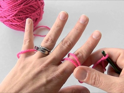 How to hold your yarn to get tension.