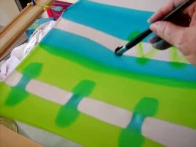 How To Paint On Silk 006 - Teena Hughes paints sandwashed silk lime and turquoise
