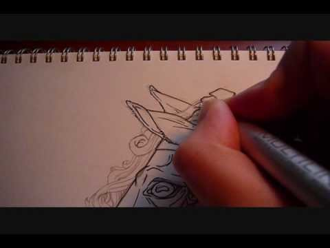 Inking a Horse in Preparation for Markers - Part 2